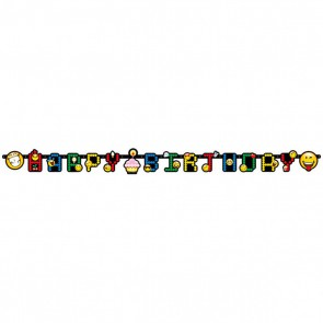 Baner Happy Birthday Smiley EMOTKI girlanda 193 cm
