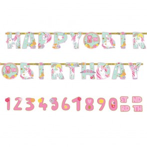 Baner Happy Birtday Jednorożec + cyferki DUŻY