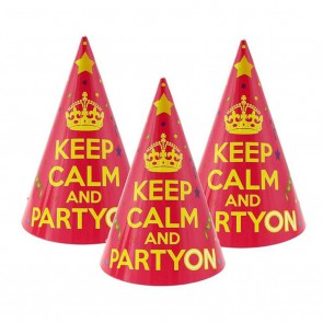 Czapeczki Keep Calm and Party On 6 szt