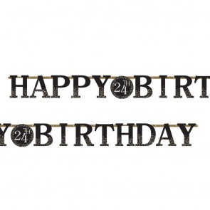 Baner Happy Birtday + cyferki czarno-złoty 320 cm